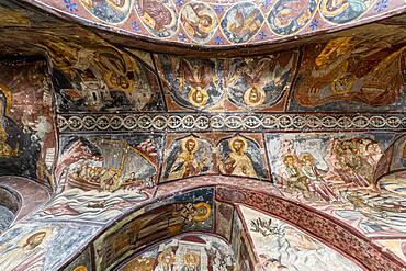 Wall frescoes, Unesco world heritage site, Monastery of Saint John the Theologian, Chora, Patmos, Greece, Europe