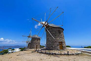 Ancient windmills, Chora, Patmos, Greece, Europe