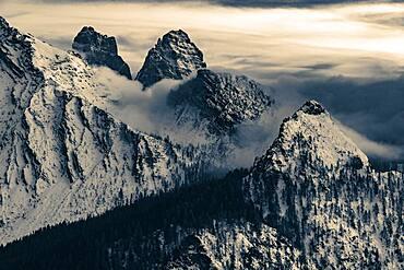 Snow-covered mountain peaks of the Bosconero group at blue hour, Forno, Val di Zoldo, Dolomites, Veneto, Italy, Europe