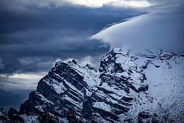 Snowy, cloudy ridge of the Civetta Group, Zoldo Alto, Val di Zoldo, Dolomites, Italy, Europe
