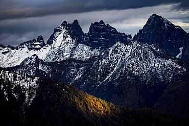 Snowy peaks of the Civetta Group, Zoldo Alto, Val di Zoldo, Dolomites, Italy, Europe
