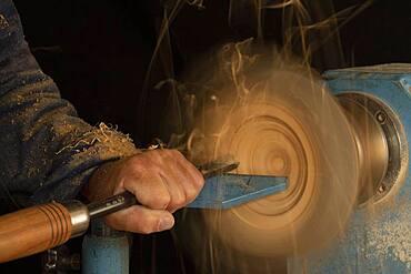 Wood turner at work, Germany, Europe