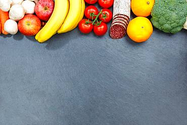 Fruit and Vegetable Food Fruits Slate Text Clearance From Top Top View