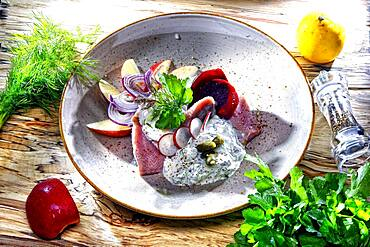 Matjes, beetroot, onions and apple pieces in fine dill dressing, Germany, Europe