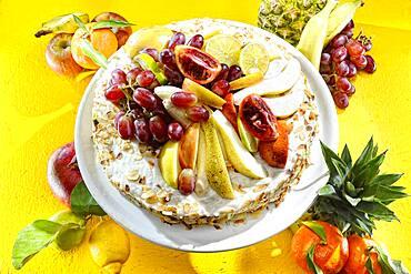Fresh fruit cake, served
