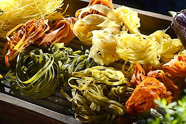Assorted coloured noodles, Germany, Europe