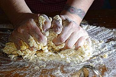 Woman hands kneading fresh pasta dough, Germany, Europe