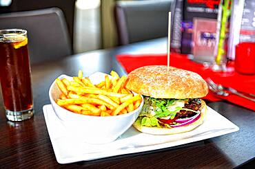 Burger with fries, grilled beef burger
