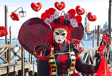 Woman in carnival constume and mask, carnival in Venice, Venice, Italy, Europe