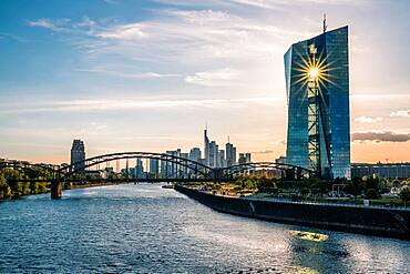 ECB, the sun shines through the building, Frankfurt am Main, Hesse, Germany, Europe
