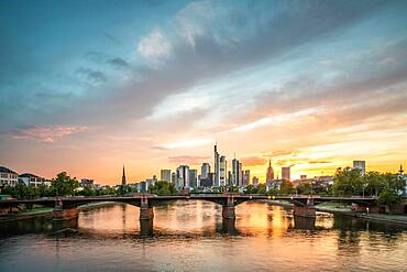 Frankfurt am Main skyline, sunset, Hesse, Germany, Europe