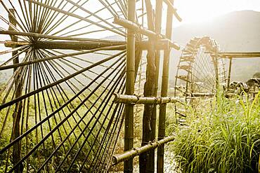 Irrigation of the rice terraces in Pu Luong, Vietnam, Asia