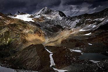 Oetztal mountains with dramatic sky, Soelden, Oetztal, Tyrol, Austria, Europe