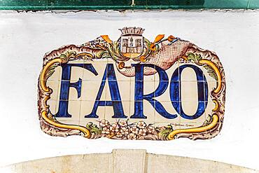Traditional Portuguese sign made of painted tiles, train station in Faro, Algarve, Portugal, Europe