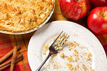 Overhead abstract of apple pie, empty plate with remaining crumbs and fork
