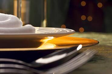 Elegant dinner setting abstract macro background