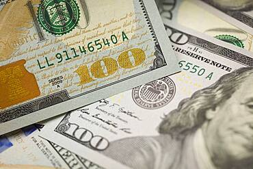 Abstract detail of the newly designed United States one hundred dollar bill
