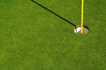 Lush, freshly mowed golf green, flag and cup with plenty of room for text on the left side