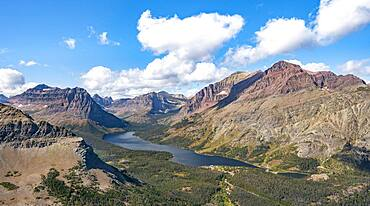 View of Two Medicine Lake, mountain peaks Rising Wolf Mountain and Sinopah Mountain, hiking trail to Scenic Point, Glacier National Park, Montana, USA, North America