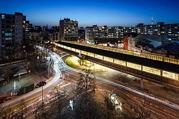 Night view over Kottbusser Tor train station in Kreuzberg, Berlin, Germany, Europe