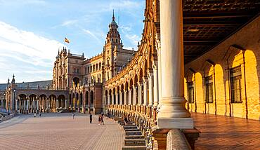 Portico at the Plaza de Espana in the evening light, Seville, Andalusia, Spain, Europe