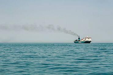 Cargo ship, Exhaust gas, Adjara, Batumi, Georgia, Asia