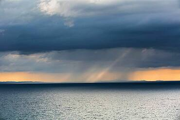 Rain cloud, Fletcher Bay, Coromandel, North Island, New Zealand, Oceania