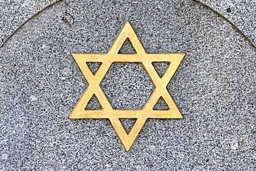 Star of David on a gravestone, New Jewish Cemetery, Nuremberg, Middle Franconia, Bavaria, Germany, Europe
