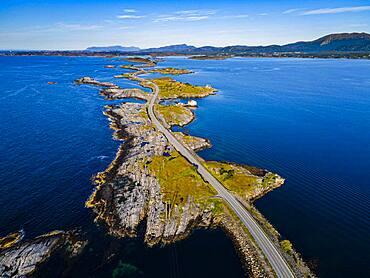 Aerial of the Atlantic Ocean Road, More og Romsdal county, Norway, Europe