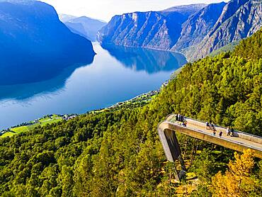 Vieing plattform Stegastein overlooking Aurlandsfjord, Aurland, Norway, Europe