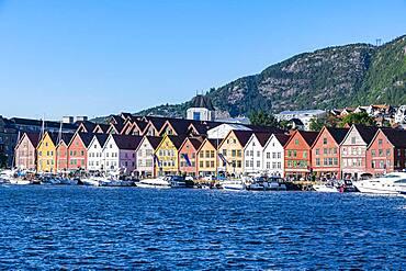 Bryggen, series of Hnaseatic buildings, Unesco world heritage site, Bergen, Norway, Europe