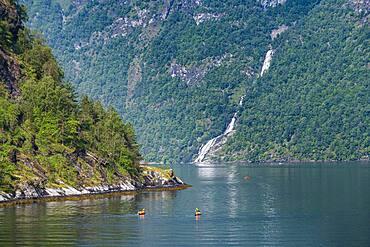 Kayakers in Geirangerfjord, Sunmore, Norway, Europe