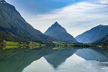 Little lake Bergheimsvatnet in the mountains near Byrkjelo, Norway, Europe