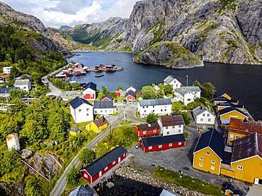 Aerial of the village of Nusfjord, Lofoten, Norway, Europe