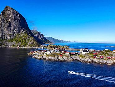 Aerial of Reine and Reinefjord, Lofoten, Norway, Europe