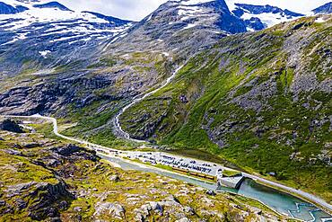 Trollstigen mountain road from the air, Norway, Europe