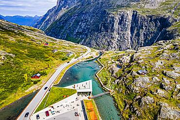 Visitor center along Trollstigen mountain road from the air, Norway, Europe