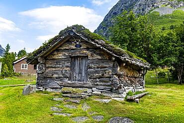 Historic huts, Trollstigen mountain road, Valldal, Norway, Europe