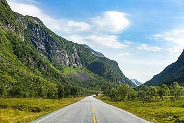 Long stright road, Trollstigen mountain road, Norway, Europe