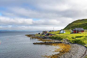 Remote little bay and settlement along the road to the Nordkapp, Norway, Europe