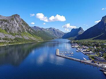 Aerial of Gryllefjord, Senja, Senja scenic road, Norway, Europe