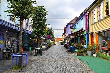 Colourful houses in Fargegaten, Stavanger, Norway, Europe