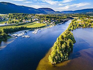 Aerial of the Norsjofjord at Akkerhauge, Telemark Canal, Norway, Europe