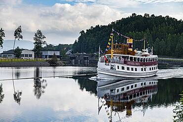 Tourist boat on the Telemark Canal, Norway, Europe