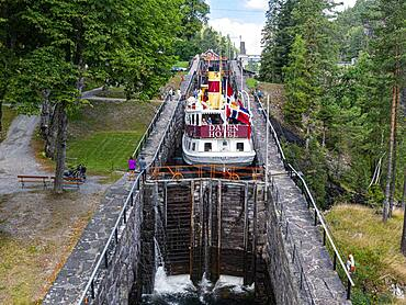 Tourist boat in the Vrangfoss locks, Telemark Canal, Norway, Europe