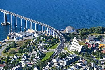 Overlook over Tromso from Fjellstua, Tromso, Norway, Europe
