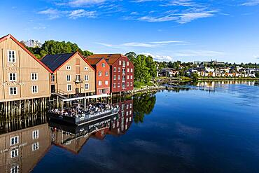 Old storehouses along the Nidelva, Trondheim, Norway, Europe