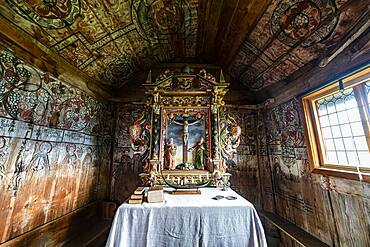 Wall paintings in the Unesco world heritage site Urnes Stave Church, Lustrafjorden, Norway, Europe