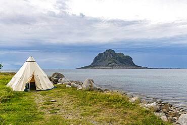 Huge monolith in the Unesco world heritage site, the Vega Archipelago, Norway, Europe