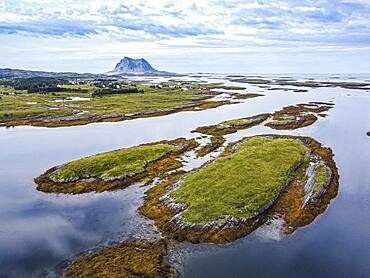 Aerial of the rugged coastline of the Unesco world heritage site, the Vega Archipelago, Norway, Europe